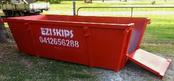 Red-skip bin size 4 with fold out door open